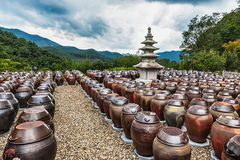 Buddhist monks metal brown pots. Traditional buddhist monks metal brown pots in South Korea Royalty Free Stock Photography
