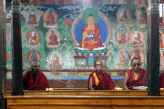 Buddhist monks in monastery Royalty Free Stock Photo