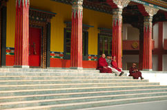 Buddhist monks near K.I.B.I,Delhi,India Stock Photo