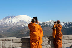 Buddhist monks nearby of St.Helens volcano, Washington Royalty Free Stock Photography