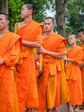 Buddhist monks in procession. Luang Phabang, Laos stock images
