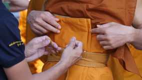 Buddhist monks. The orderly arrangement for the ceremony. Ordained clergy royalty free stock photography