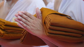 Buddhist monks. The orderly arrangement for the ceremony. Ordained clergy stock images