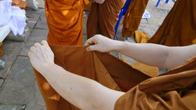 Buddhist monks. The orderly arrangement for the ceremony. Ordained clergy stock photo