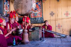 Music at traditional festival in Bumthang - Bhutan Stock Photos