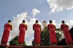 Buddhist monks praising Buddha Royalty Free Stock Photos
