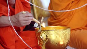 Buddhist monks praying stock video footage