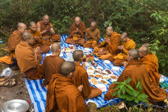Buddhist monks praying in nature Stock Photography