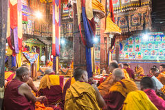 Buddhist monks praying in Thiksay monastery Stock Image