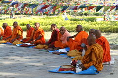 Buddhist monks are praying Stock Image