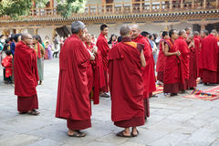 Buddhist monks at the Punakha Dzong, Punakha, Bhutan Royalty Free Stock Image