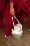 Buddhist monks and refreshments, Dalai Lama temple, McLeod Ganj, Royalty Free Stock Images