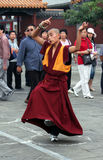 Buddhist monks rehearsing ritual dance for annual holiday presentation at Dazhao Monastery Royalty Free Stock Image