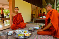 Buddhist monks of a riverside temple in Kampot, Cambodia Stock Photography