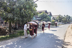 Buddhist monks in a row. Buddhist monks are marching in a  in a row in the morning to receive their food from lay poeple, at Dawei, Myanmar Stock Photos