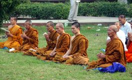 Buddhist monks at Sarnath Royalty Free Stock Photo
