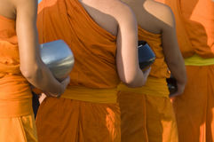 Buddhist Monks Seeking Offerings 2 Stock Photos