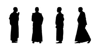 Buddhist monks silhouettes set 1 Stock Photography