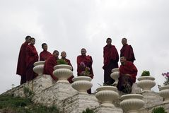 Buddhist monks, Simtokha, Bhutan Royalty Free Stock Image