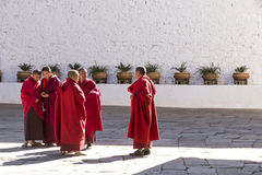 Buddhist monks with smartphone Royalty Free Stock Image