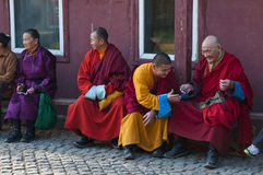 Buddhist monks. Some buddhist monks in a mongolian temple before a ceremony Stock Photography