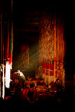 Buddhist monks study in sunbeams within Drepung Monastery, Lhasa Royalty Free Stock Photo