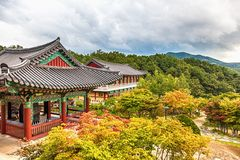 Free Buddhist Monks Temple In Mountains In Korea Stock Image - 50690711