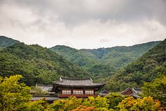 Buddhist monks temple in mountains in Korea Royalty Free Stock Photo