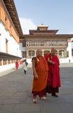 Buddhist monks at the Trashi Chhoe Dzong, Thimphu, Bhutan Stock Images
