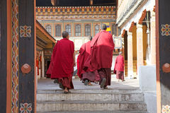 Buddhist monks at the Trashi Chhoe Dzong, Thimphu, Bhutan Royalty Free Stock Images