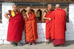 Buddhist monks at the Trashi Chhoe Dzong, Thimphu, Bhutan Royalty Free Stock Image
