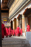 Buddhist monks at the Trashi Chhoe Dzong, Thimphu, Bhutan Royalty Free Stock Photos