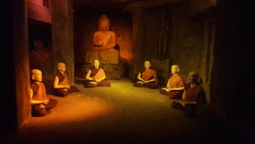 Buddhist monks. This is under a cave from Ramoji Hyderabad Stock Photo
