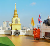 Buddhist monks visiting at the temple Stock Photography
