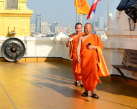 Buddhist monks visiting at the temple Royalty Free Stock Photos