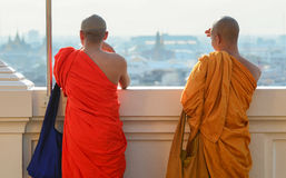 Buddhist monks visiting at the temple Royalty Free Stock Image