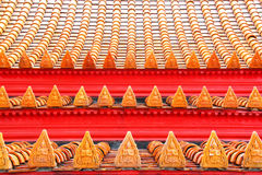 Buddhist motifs tiles roof Royalty Free Stock Photography