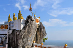 Buddhist mountainpeak temple in Thailand. View from Buddhist mountain peak Tiger Temple (Wat Tham Sua) - South Thailand, Krabi Stock Photo