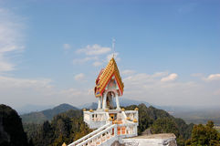 Buddhist mountainpeak temple in Thailand. View from Buddhist mountain peak Tiger Temple (Wat Tham Sua) - South Thailand, Krabi Royalty Free Stock Photo