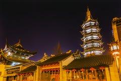 Buddhist Nanchang Temple Pagoda Wuxi Jiangsu China Night Stock Photography