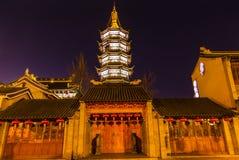 Buddhist Nanchang Temple Wooden Door Pagoda Wuxi Jiangsu China Royalty Free Stock Photography