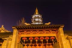Buddhist Nanchang Temple Wooden Door Pagoda Wuxi Jiangsu China Stock Photography
