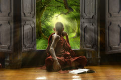 Buddhist novice. Looking out the window Stock Photography