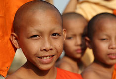 Buddhist novice in Luang Prabang, Laos. Royalty Free Stock Photo