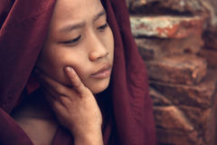 Buddhist novice monk portrait stock images