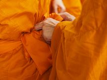 Buddhist novice thailand with yellow robe of buddhist monk royalty free stock photography