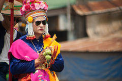 Buddhist Novice in traditional dress in Si Satchanalai Elephant stock images