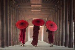Buddhist novice are walking in temple. Myanmar Stock Photos