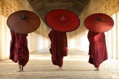Buddhist novices in in Bagan, Myanmar Burma