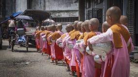 Buddhist novices girls Royalty Free Stock Image